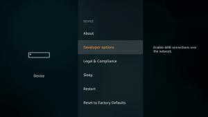 developer options on firetv